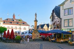 City Hall and Street market Marktplatz Linz am Rhein Royalty Free Stock Photos