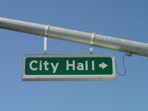 City Hall Street Sign Stock Photography