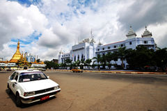 City hall and Sule Paya in Yangon downtown Stock Photo