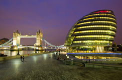 City Hall and Tower Bridge Stock Images