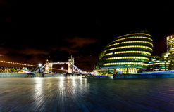 City Hall and Tower Bridge  in London British capital panorama a Stock Images