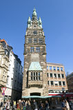 City Hall Tower, flower stall, street life, Germany Royalty Free Stock Image
