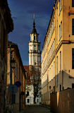 The City Hall Tower in Kaunas, Lithuania. View from a narrow street towards the tower of the City Hall in the old downtown of Kaunas, Lithuania's second largest Royalty Free Stock Photography