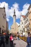 City Hall tower and narrow streets of Tallinn old town, Estonia stock photo