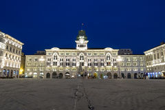 City Hall of Trieste, Italy. Illuminated City Hall of Trieste, Italy, Europe Stock Photo