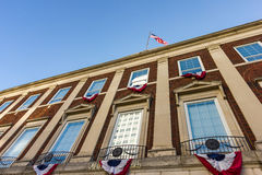 A City Hall in the U.S.A. Flying the American Flag and with red, white and blue bunting stock photography