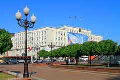 City Hall at Victory Square in Kaliningrad in July. KALININGRAD, RUSSIA — JULY 9, 2014: City Hall at Victory Square in Kaliningrad in July Royalty Free Stock Photos