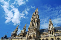City Hall of Vienna, Austria. Gothic building by day, personal perspective, architectural background stock photos