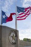 City hall and waving  flags in Dallas. City hall  and waving Texas state and America  flags in Dallas ,TX USA Stock Photo