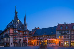 The city hall of Wernigerode. The gothic city hall of wernigerode by night,  blue hour Stock Photos
