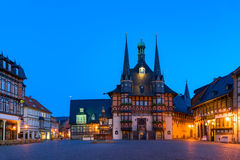 The city hall of Wernigerode. The gothic city hall of wernigerode by night,  blue hour Royalty Free Stock Image