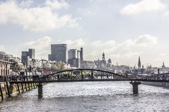 The city of hamburg. View from the fishmarket to the city of hamburg, Germany Royalty Free Stock Photo