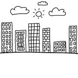 City in hand drawn design idea,format of line pattern art. Royalty Free Stock Photos