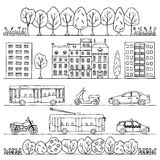 City hand drawn doodle borders Royalty Free Stock Image