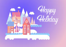 City Happy New Year Merry Christmas Holiday Greeting Card Banner. Flat Vector Illustration royalty free illustration