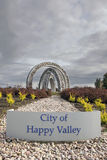 City of Happy Valley Sign and Art Sculpture Stock Images
