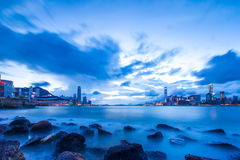 City harbor in blue - Hong Kong Royalty Free Stock Photography