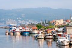 City harbor with boats in Chanakkale, Turkey Stock Photos