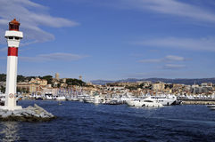 City and harbor of Cannes. France. The city and the harbor of Cannes in the French riviera royalty free stock photos
