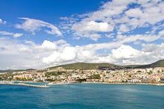 City and harbor at Kusadasi - bird island. City and harbor at Kusadasi, bird island on the turkish coast of the Aegean sea Stock Images
