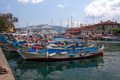 City harbor in marmaris with boats Stock Images