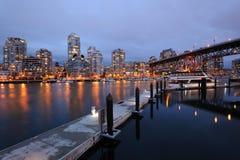 City and harbor night scene royalty free stock photo