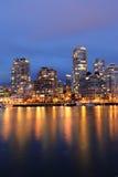 City and harbor night scene royalty free stock photos