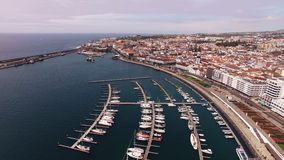 City with harbor at Ponta Delgada, capital city of the Azores at Sao Miguel Island. City view with harbor at Ponta Delgada, capital city of the Azores at Sao stock video footage