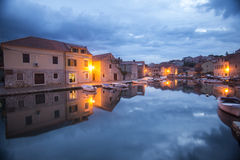 City harbour reflection in Hvar Croatia Stock Image