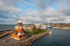 City of Helsingborg in Sweden. Port of city of Helsingborg in Sweden on an autumn day royalty free stock photography