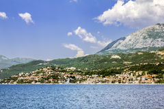 City Herceg  Novi in Kotor bay, view from the sea Stock Photos