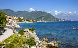 City Herceg  Novi in Kotor bay, view from the sea Royalty Free Stock Photography