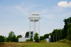 City of Hernando water tower, Hernando, Mississippi. Royalty Free Stock Photography
