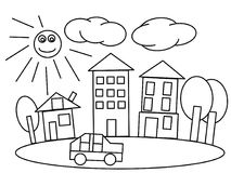 City high quality kids coloring pages Stock Photography