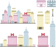A city of high-rise buildings in pastel colors and detached buildings. Separate buildings of the city from low to high and the city in two versions in pastel Stock Images