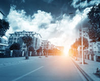 City high-rise buildings and roads. In Shanghai China, early morning rising sun royalty free stock image