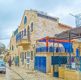 The city in highlands of Galilee. The wet street in Safed, the Judaism's Holy City and center of Kabbalah(Jewish mysticism), Israel royalty free stock photo