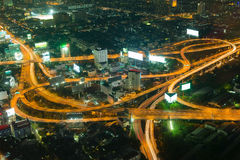 City highway aerial night view, long exposure Royalty Free Stock Photo