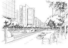 City highway - architectural drawing Royalty Free Stock Image