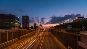 City highway by blue hour. Poland - time lapse, illumination of traffic lights stock footage