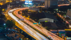 City highway curved light night view Royalty Free Stock Image