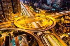 City highway interchange closeup at night Stock Photos