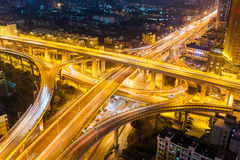 City highway interchange at night Royalty Free Stock Photos