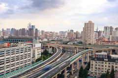 City highway overpass with car motion blur Stock Images