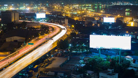 City highway overpass at night, aerial view Royalty Free Stock Photography