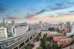 City highway overpass with sunset glow. In shanghai,China Stock Image