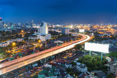 City highway road curved at night Royalty Free Stock Image