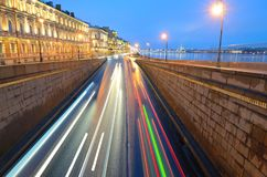 City highway for road transport. The view at night.The road passes under the bridge Royalty Free Stock Images