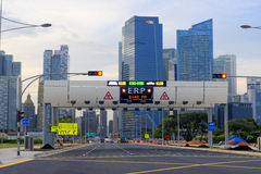 City highway sign and skyline Stock Photos