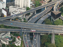 City highways. High angle view image, useful for urban living,traffic,stress or pollution related themes, Bangkok,Thailand, SE Asia Royalty Free Stock Photos